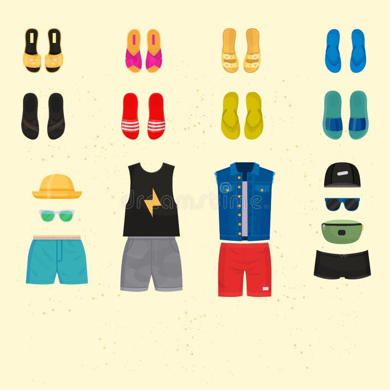 Η μόδα υφασμάτων μπικινιών Beachwear φαίνεται θάλασσα συλλογής γυναικών τρόπου ζωής διακοπών που η ελαφριά ομορφιά ντύνει illustr διανυσματική απεικόνιση