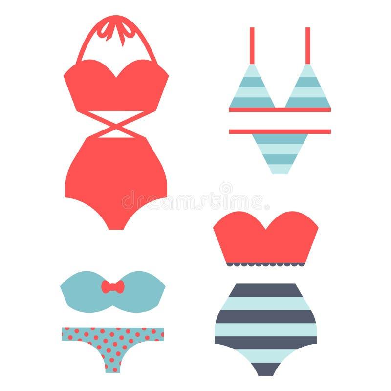 Η μόδα υφασμάτων μπικινιών Beachwear φαίνεται ελαφρύ διάνυσμα ενδυμάτων ομορφιάς θάλασσας συλλογής γυναικών τρόπου ζωής διακοπών  απεικόνιση αποθεμάτων