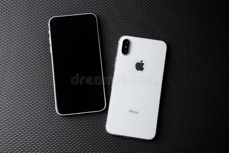 Η νέα άσπρη Apple Iphone Χ πρότυπο στενό σε επάνω στοκ φωτογραφία με δικαίωμα ελεύθερης χρήσης