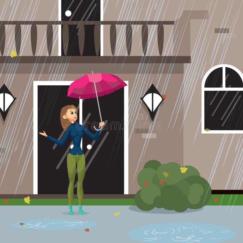 Η νέα γυναίκα βγαίνει από το σπίτι με μια ομπρέλα απεικόνιση αποθεμάτων