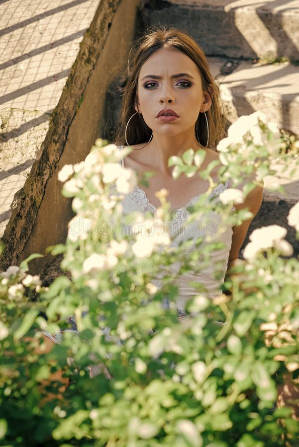 Η νέα γυναίκα θέτει στον ανθίζοντας θάμνο την ηλιόλουστη ημέρα, καλοκαίρι στοκ φωτογραφία