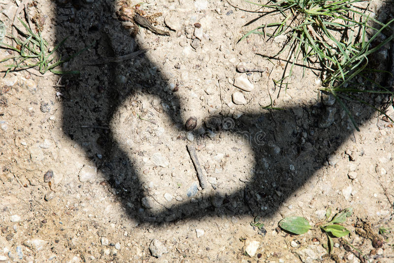 Η νέα γυναίκα κάνει τη σκιά καρδιών με το χέρι στοκ εικόνα