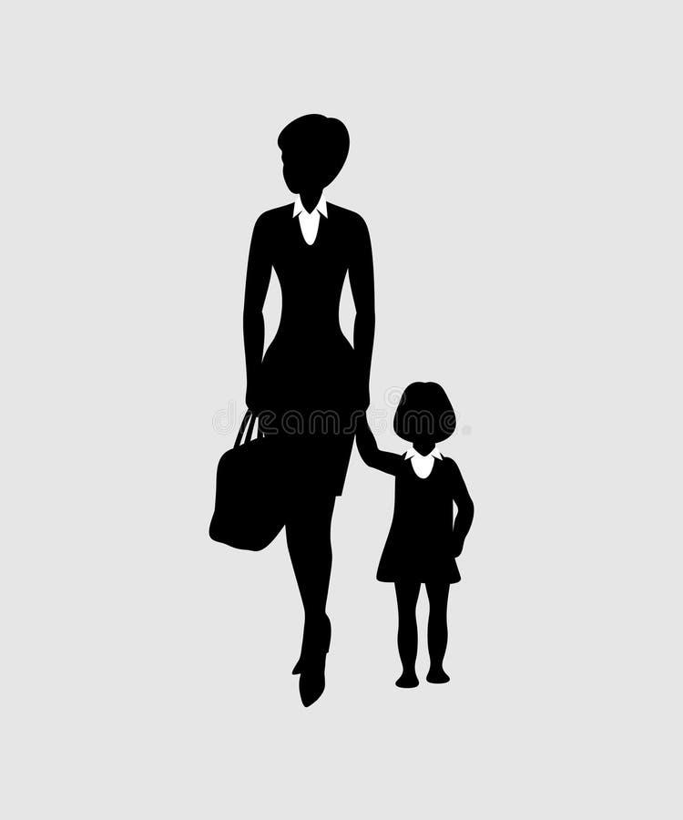 Η νέα γυναίκα κρατά ένα μικρό κορίτσι από το χέρι επίσης corel σύρετε το διάνυσμα απεικόνισης διανυσματική απεικόνιση