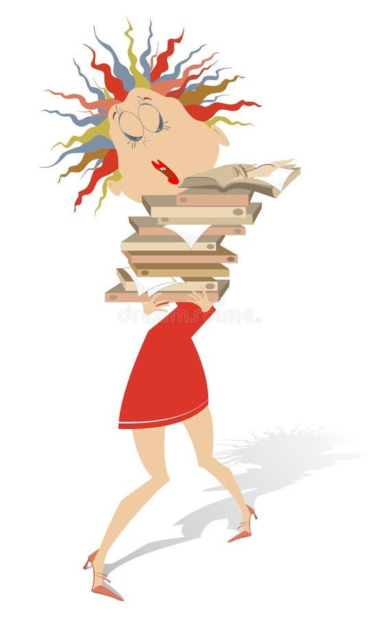 Η νέα γυναίκα κρατά μετά βίας πολλά βιβλία ή έγγραφα απομονωμένα απεικόνιση αποθεμάτων