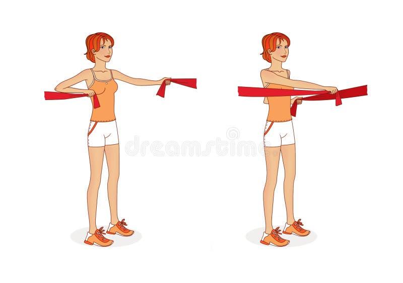 Η νέα γυναίκα με τις ταινίες γυμναστικής ασκεί τους μυς βραχιόνων και τους μεγάλους θωρακικούς μυς ασκήσεις η ανασκόπηση απομόνωσ απεικόνιση αποθεμάτων
