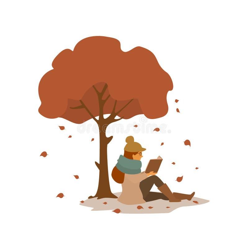 Η νέα γυναίκα που διαβάζει ένα βιβλίο, που κάθεται κάτω από το δέντρο φθινοπώρου στο πάρκο απομόνωσε τη διανυσματική σκηνή απεικό ελεύθερη απεικόνιση δικαιώματος