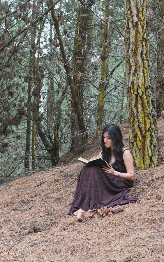 Η νέα γυναίκα στο μακρύ φόρεμα κάθεται κάτω από ένα δέντρο με το βιβλίο στοκ εικόνες