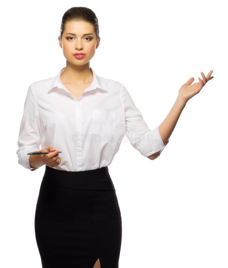 Η νέα επιχειρηματίας παρουσιάζει ευπρόσδεκτη χειρονομία στοκ εικόνα