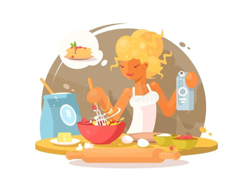 Η νέα ξανθή γυναίκα προετοιμάζει το γεύμα απεικόνιση αποθεμάτων