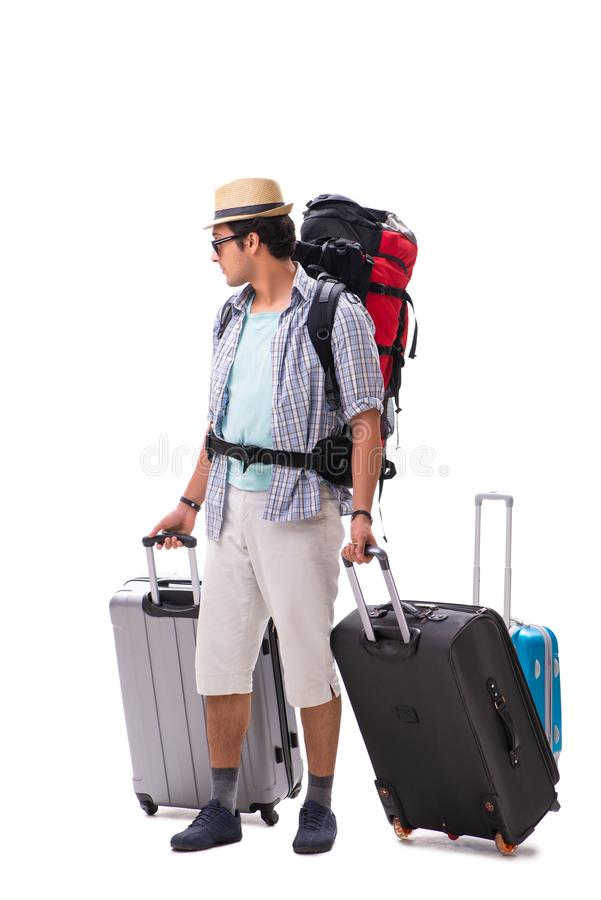 Η νέα οικογένεια που προετοιμάζεται για το ταξίδι διακοπών στο λευκό στοκ φωτογραφίες με δικαίωμα ελεύθερης χρήσης