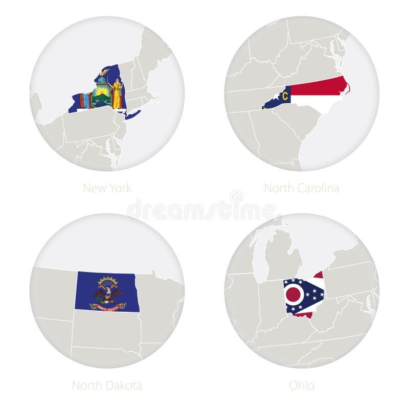 Η Νέα Υόρκη, βόρεια Καρολίνα, βόρεια Ντακότα, κράτη του Οχάιου ΗΠΑ χαρτογραφεί το περίγραμμα και τη εθνική σημαία σε έναν κύκλο διανυσματική απεικόνιση