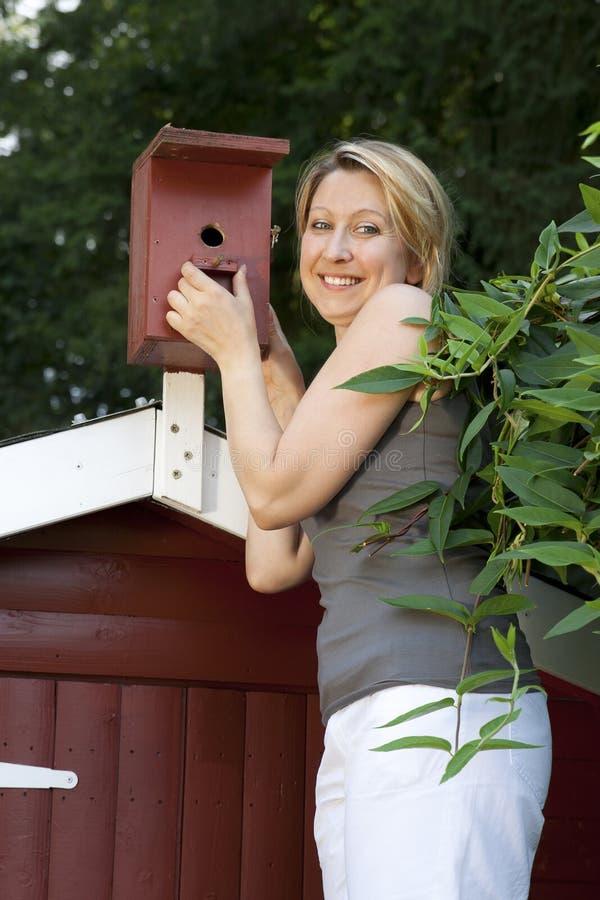 Η νέα όμορφη γυναίκα ελέγχει birdhouse στοκ φωτογραφία με δικαίωμα ελεύθερης χρήσης