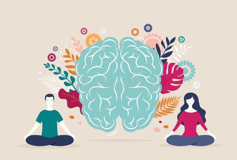 Η νέοι γυναίκα και ο άνδρας κάθονται με τα διασχισμένα πόδια και meditate με το εικονίδιο εγκεφάλου στο υπόβαθρο r απεικόνιση αποθεμάτων