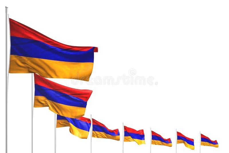 Η Νίκαια πολλές σημαίες της Αρμενίας τοποθέτησε τη διαγώνιος που απομονώθηκε στο λευκό με το διάστημα για το περιεχόμενο - οποιαδ απεικόνιση αποθεμάτων