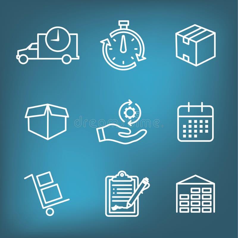 Η ναυτιλία και η λήψη του εικονιδίου θέτουν με τα κιβώτια, την αποθήκη εμπορευμάτων, τον πίνακα ελέγχου, κ.λπ. ελεύθερη απεικόνιση δικαιώματος