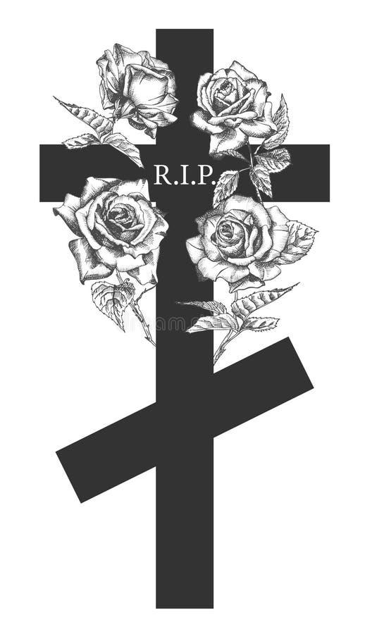 Η νεκρική έννοια διακοσμήσεων με συρμένα τα χέρι τριαντάφυλλα και ο σταυρός στο μαύρο χρώμα που απομονώθηκε στον άσπρο τρύγο χάρα ελεύθερη απεικόνιση δικαιώματος