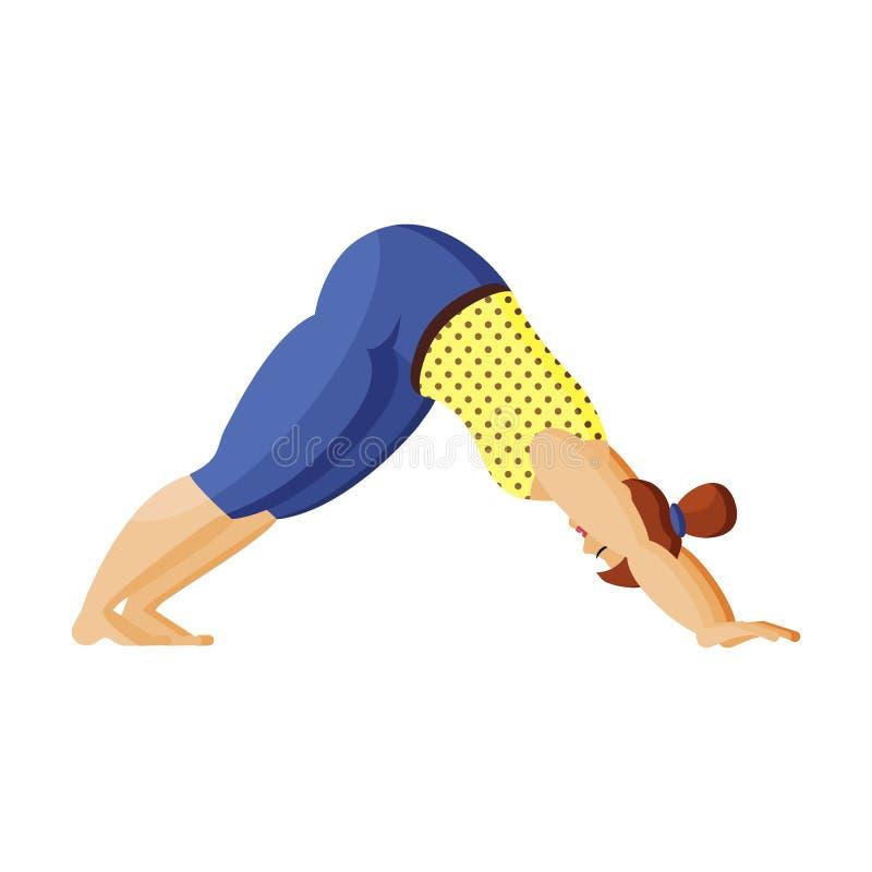 Η νεολαία συν τη γυναίκα μεγέθους κάνει τη γιόγκα Πρακτική γιόγκας πρωινού Θετικό σώματος διανυσματική απεικόνιση