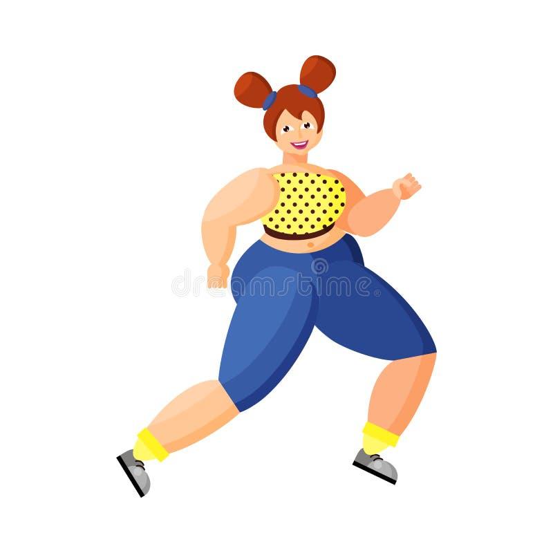 Η νεολαία συν τη γυναίκα μεγέθους τρέχει Τρέξιμο πρωινού r Θετικό σώματος διανυσματική απεικόνιση