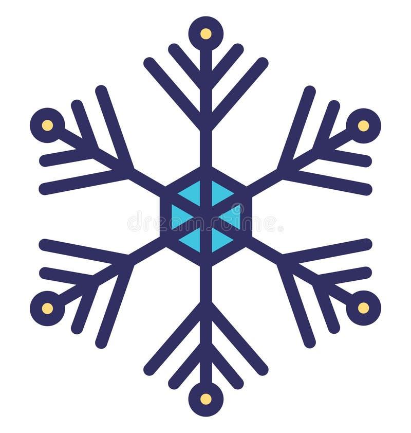 Η νιφάδα Χριστουγέννων, νιφάδα κρυστάλλου απομόνωσε το διανυσματικό εικονίδιο που μπορεί να τροποποιηθεί εύκολα ή να εκδοθεί διανυσματική απεικόνιση