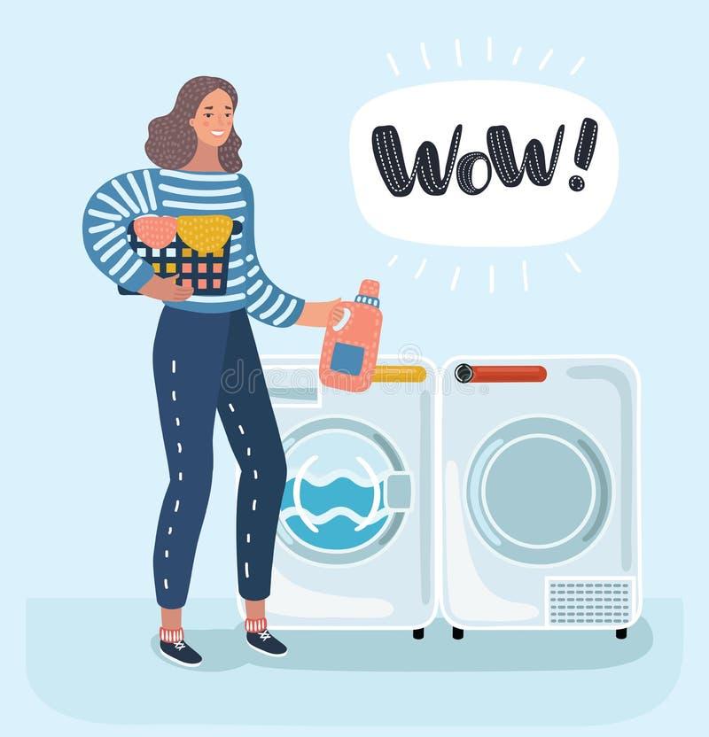 Η νοικοκυρά γυναικών πλένει τα ενδύματα στο πλυντήριο διανυσματική απεικόνιση