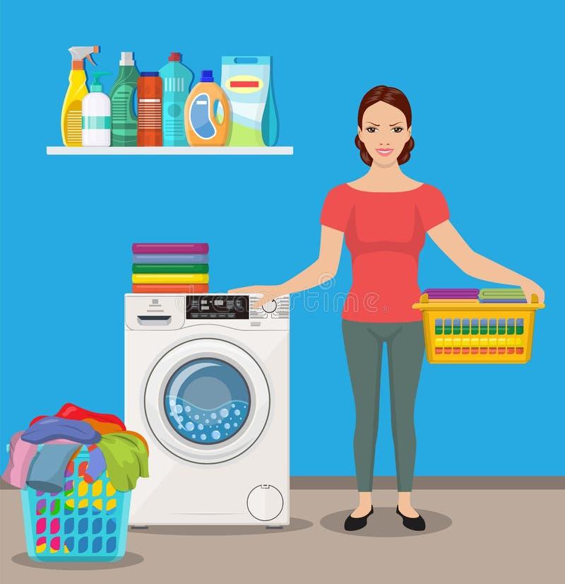 Η νοικοκυρά γυναικών πλένει τα ενδύματα ελεύθερη απεικόνιση δικαιώματος