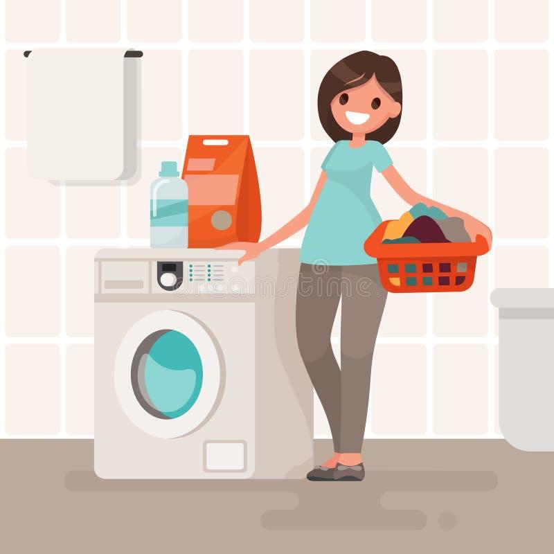 Η νοικοκυρά γυναικών πλένει τα ενδύματα στο πλυντήριο Διανυσματικό IL διανυσματική απεικόνιση