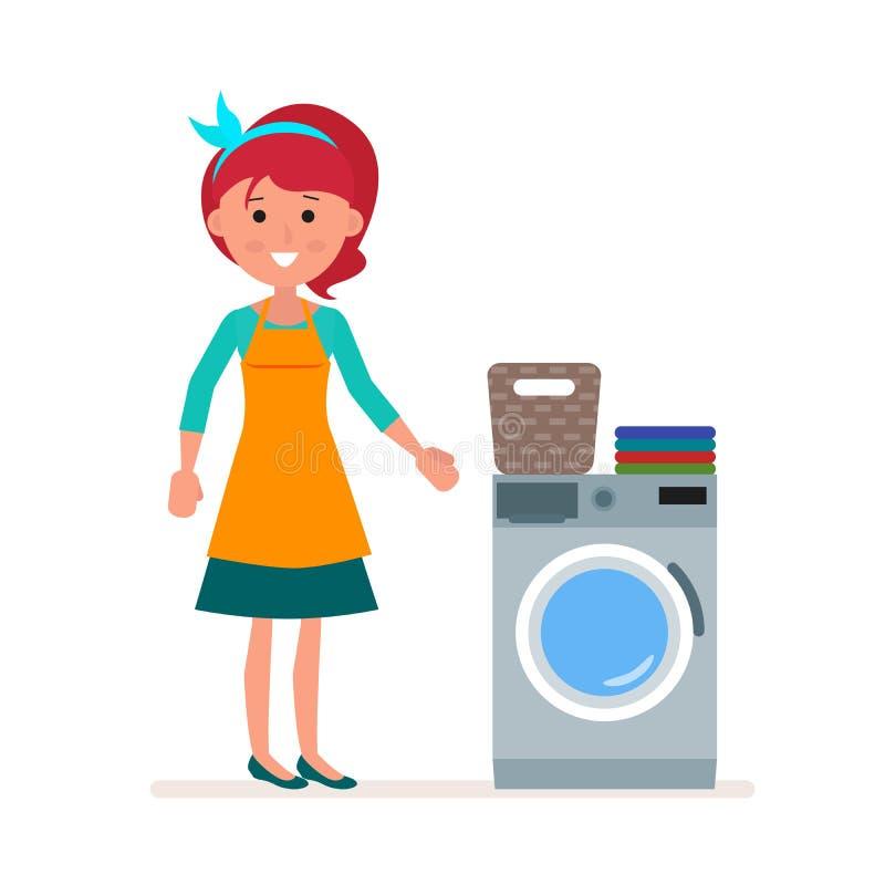 Η νοικοκυρά γυναικών πλένει τα ενδύματα στο πλυντήριο Κλασικό οικιακό καθήκον της παραμονής Επίπεδος χαρακτήρας που απομονώνεται  ελεύθερη απεικόνιση δικαιώματος