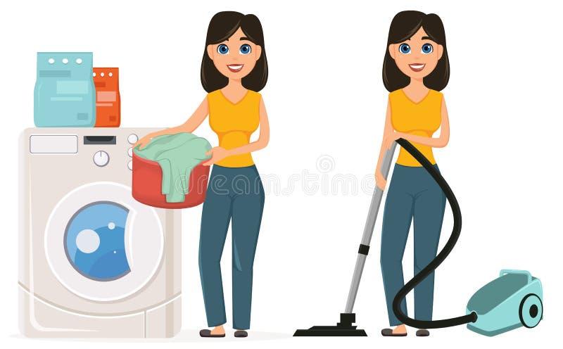 Η νοικοκυρά πλένει τα ενδύματα στο σκουπίζοντας με ηλεκτρική σκούπα σπίτι W πλυντηρίων απεικόνιση αποθεμάτων