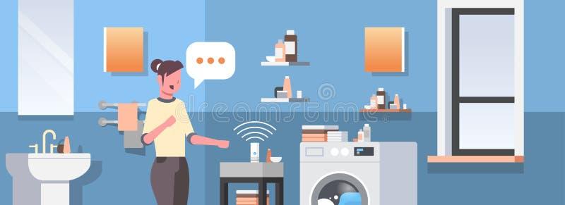 Η νοικοκυρά που χρησιμοποιεί την έξυπνη αναγνώριση φωνής ομιλητών ενεργοποίησε την ψηφιακή αυτοματοποιημένη βοηθοί έννοια εκθέσεω διανυσματική απεικόνιση