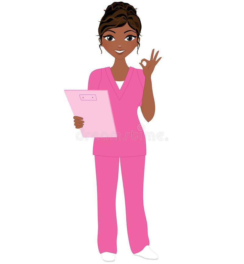 Η νοσοκόμα γυναικών θέτει απεικόνιση αποθεμάτων