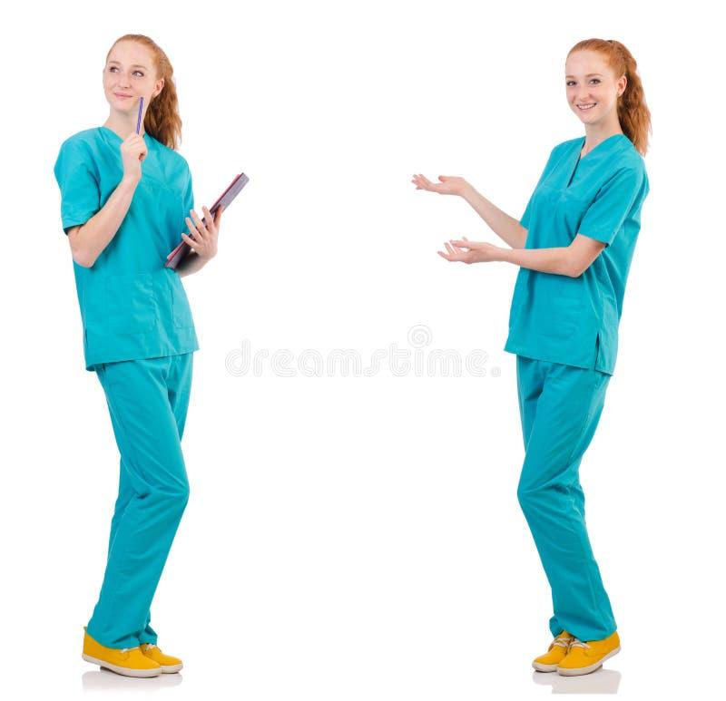 Η νοσοκόμα που απομονώνεται προσεκτική στο λευκό στοκ φωτογραφία με δικαίωμα ελεύθερης χρήσης