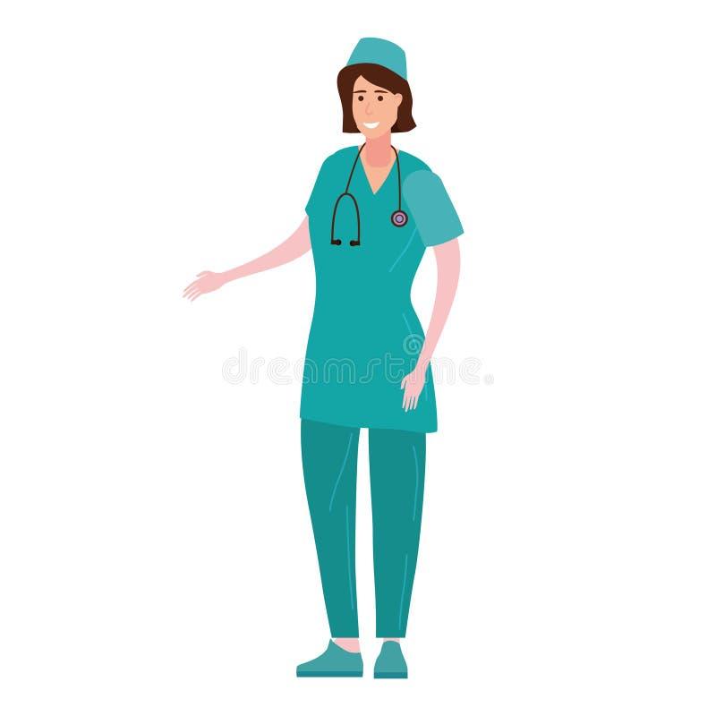 Η νοσοκόμα στα επαγγελματικά ενδύματα, ο χαρακτήρας με ένα στηθοσκόπιο προετοιμάζεται να δώσει τις συμβουλές Διανυσματική απεικόν ελεύθερη απεικόνιση δικαιώματος
