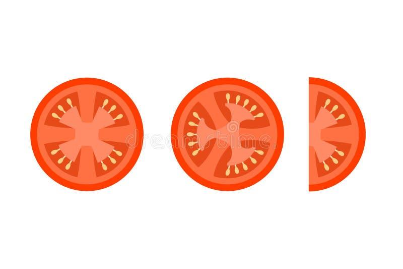Η ντομάτα τεμαχίζει τα επίπεδα διανυσματικά εικονίδια για το ντεκόρ τροφίμων διανυσματική απεικόνιση