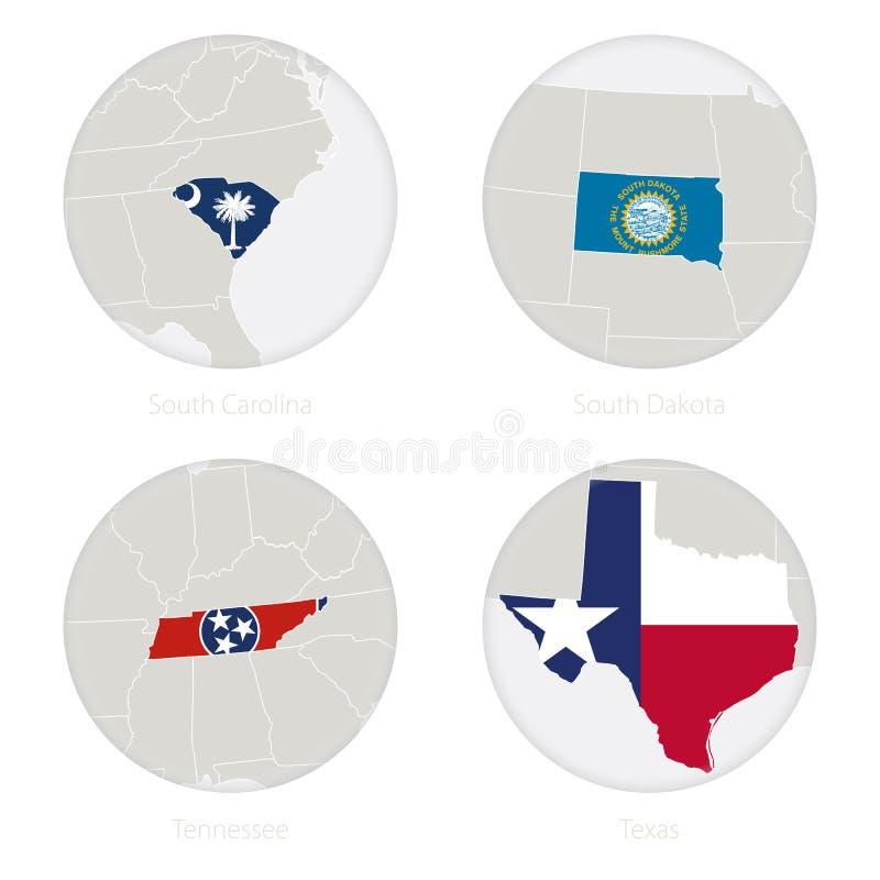 Η νότια Καρολίνα, νότια Ντακότα, Τένεσι, κράτη του Τέξας ΗΠΑ χαρτογραφεί το περίγραμμα και τη εθνική σημαία σε έναν κύκλο απεικόνιση αποθεμάτων