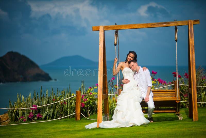 Η νύφη και ο νεόνυμφος κάθονται σε μια ταλάντευση στο υπόβαθρο ενός απίστευτα όμορφου τοπίου, ενός ωκεανού και των βουνών στοκ εικόνα