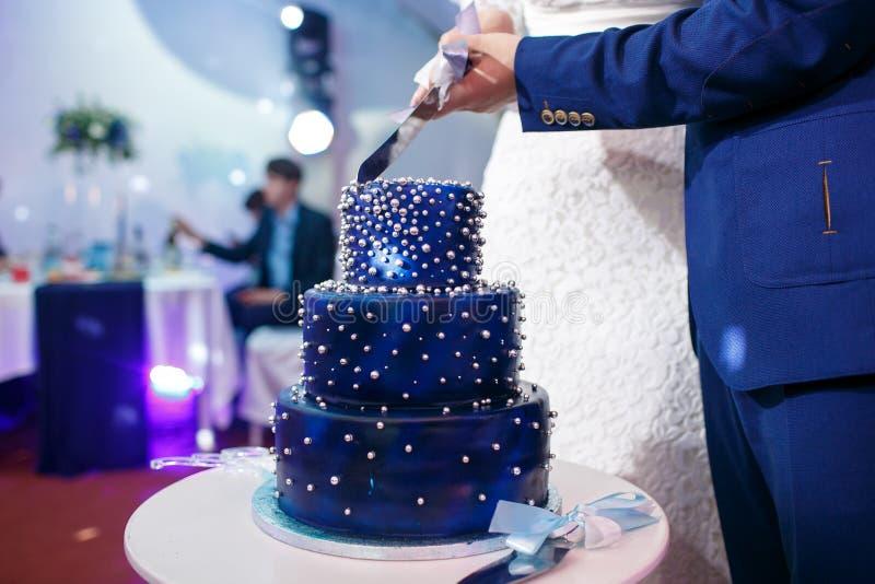 Η νύφη και ο νεόνυμφος κόβουν το μπλε γαμήλιο κέικ στοκ εικόνες