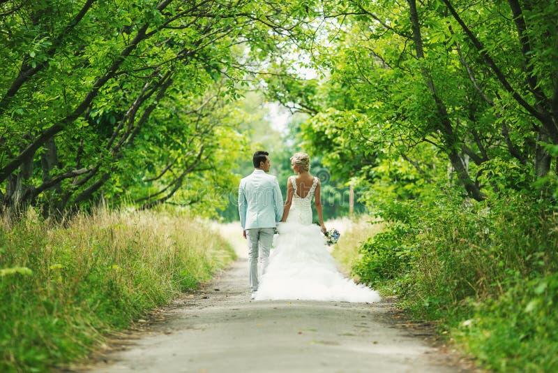 Η νύφη και ο νεόνυμφος στην αλέα στοκ φωτογραφία με δικαίωμα ελεύθερης χρήσης