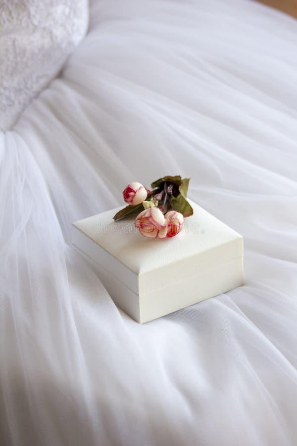 Η νύφη κρατά το κιβώτιο γαμήλιων δαχτυλιδιών διαθέσιμο στοκ εικόνες