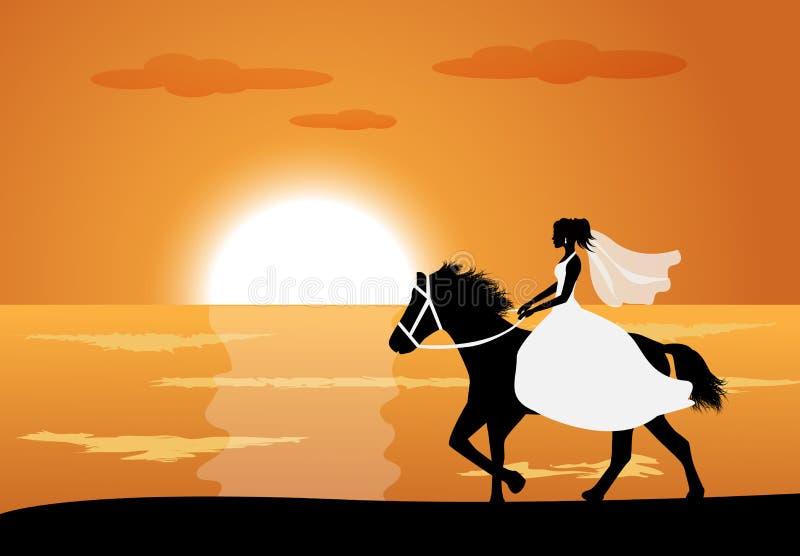 Η νύφη οδηγά ένα άλογο ελεύθερη απεικόνιση δικαιώματος