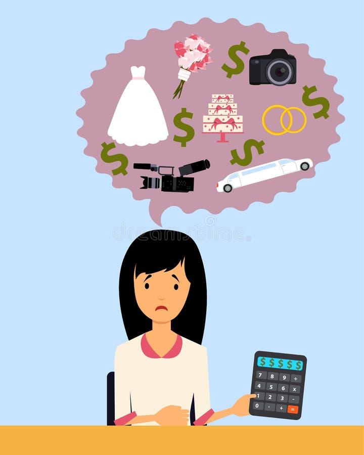 Η νύφη που προγραμματίζει έναν γάμο απεικόνιση αποθεμάτων