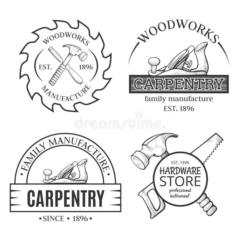 Η ξυλουργική λειτουργεί την τέχνη γραμμών που τίθεται με το λογότυπο διανυσματική απεικόνιση