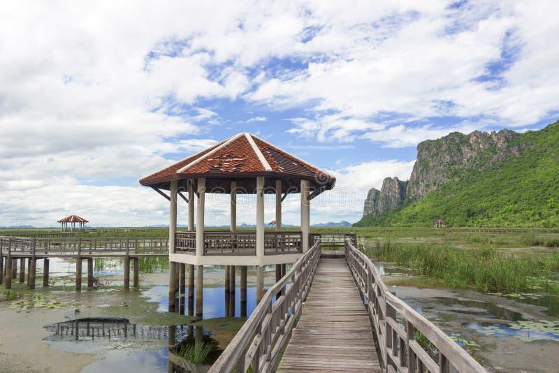 Η ξύλινη γέφυρα στοκ φωτογραφίες