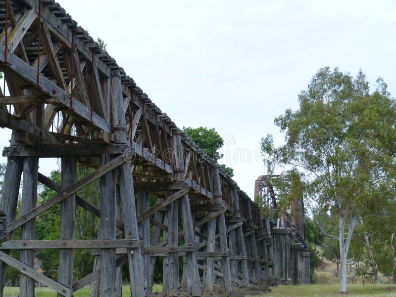 Η ξύλινη οδογέφυρα ραγών σε Gundagai στοκ φωτογραφίες με δικαίωμα ελεύθερης χρήσης