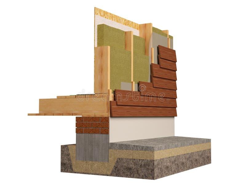 Η ξύλινη πλαισιώνοντας μόνωση σπιτιών, τρισδιάστατη δίνει, παραγμένη υπολογιστής εικόνα ελεύθερη απεικόνιση δικαιώματος