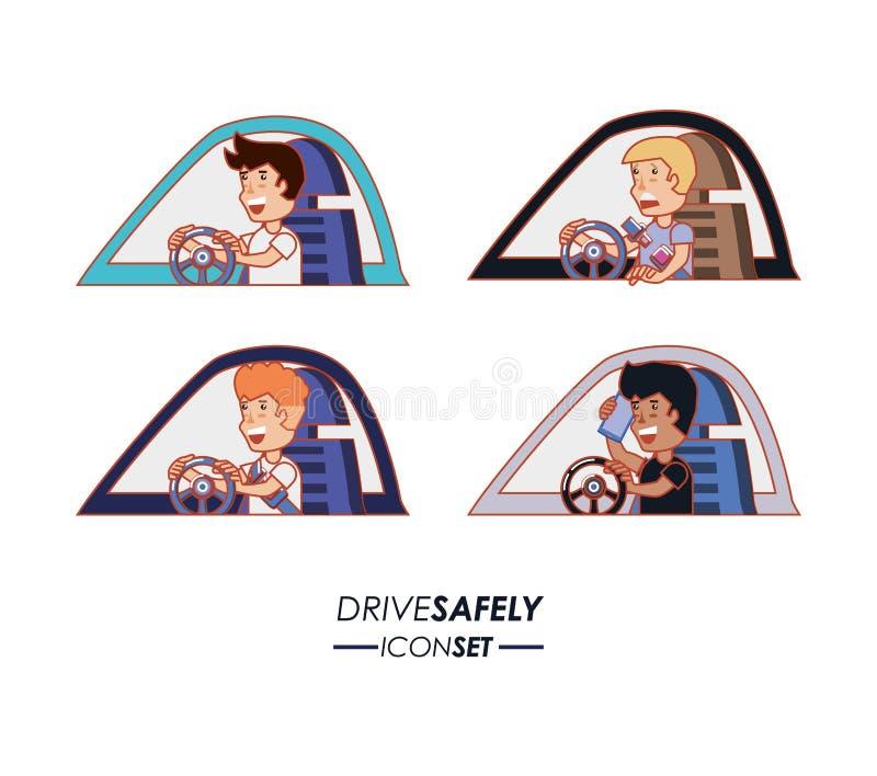 Η οδήγηση προσώπων για τον οδηγό κάνει εκστρατεία ακίνδυνα διανυσματική απεικόνιση