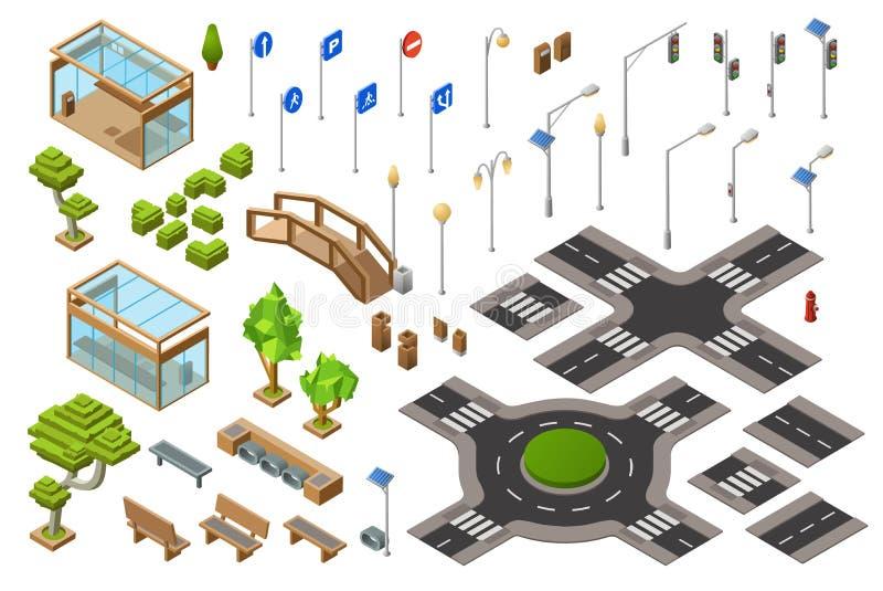 Η οδική isometric τρισδιάστατη διανυσματική απεικόνιση πόλεων των σημαδιών φωτεινού σηματοδότη και κατεύθυνσης ή των σταυροδρομιώ απεικόνιση αποθεμάτων