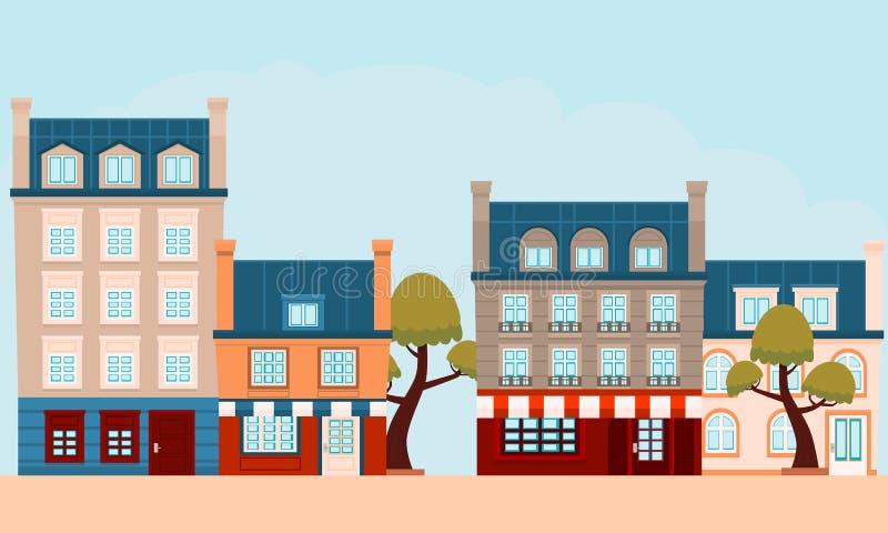 Η οδός μιας μικρής γαλλικής πόλης διανυσματική απεικόνιση