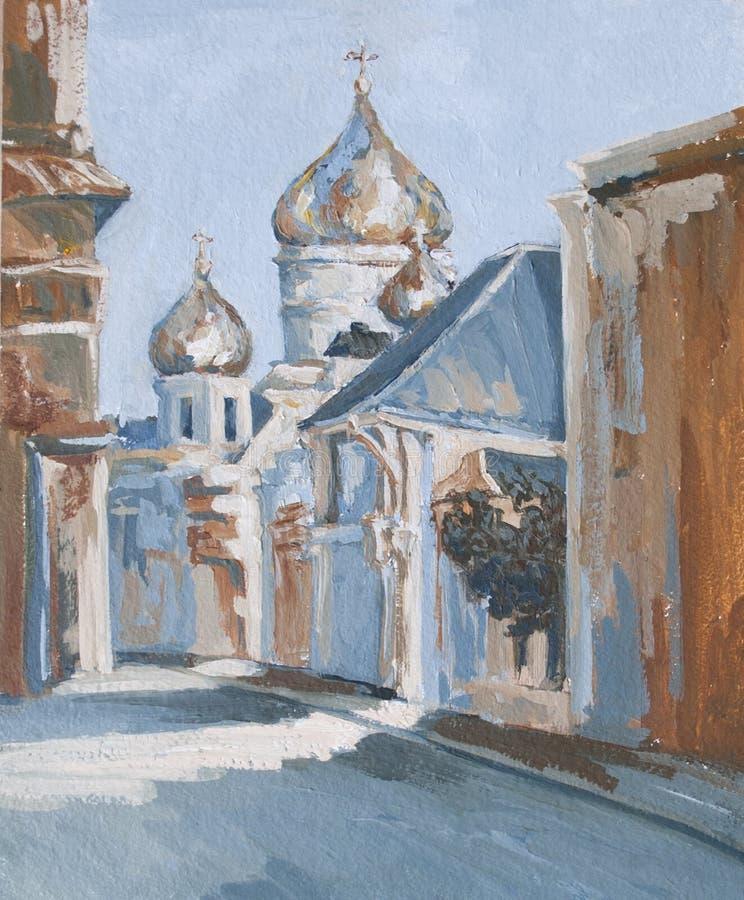 Η οδός πόλεων με τα σπίτια και την εκκλησία διανυσματική απεικόνιση
