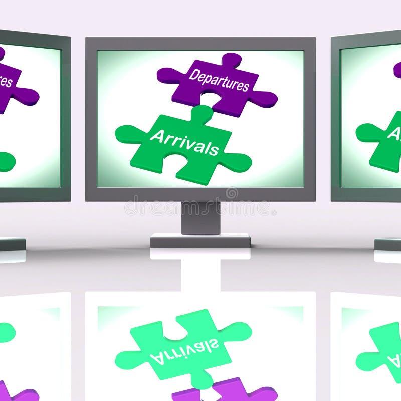 Η οθόνη γρίφων αφίξεων αναχωρήσεων σημαίνει τις διακοπές ή το ταξίδι διανυσματική απεικόνιση
