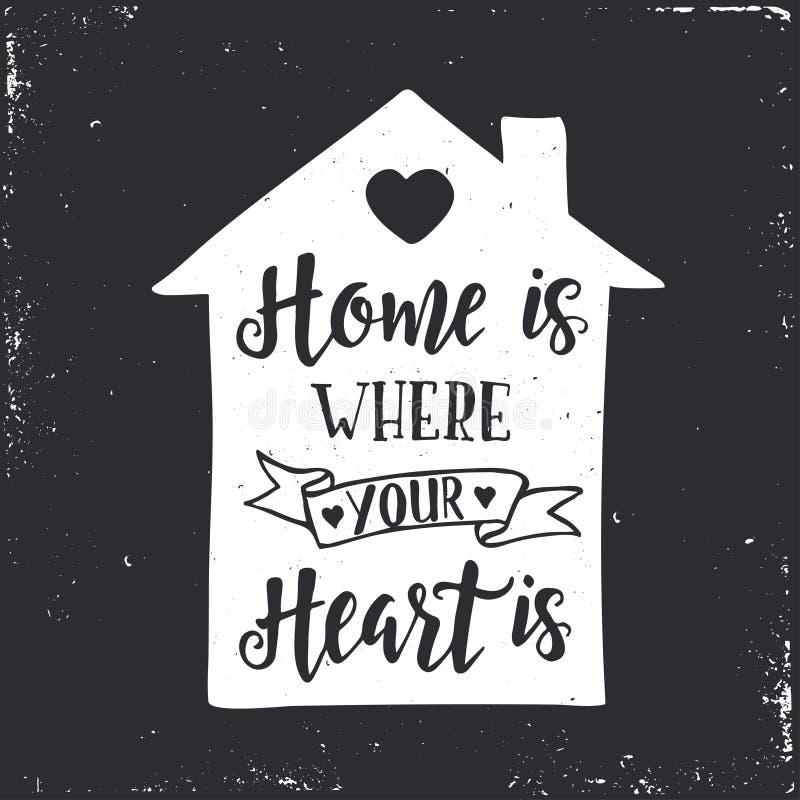 Η 'Οικία' είναι όπου η καρδιά σας είναι Εμπνευσμένη διανυσματική συρμένη χέρι αφίσα τυπογραφίας ελεύθερη απεικόνιση δικαιώματος